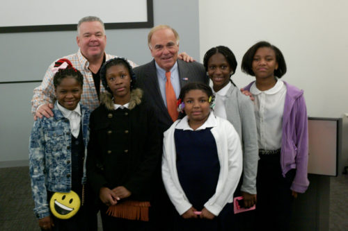Julia Ward Howe teacher John Lawlor and his class with former Gov. Rendell.