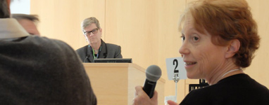American Academy round table at APPC, with Kathleen Hall Jamieson (at the podium) and Nora Newcombe (holding microphone).