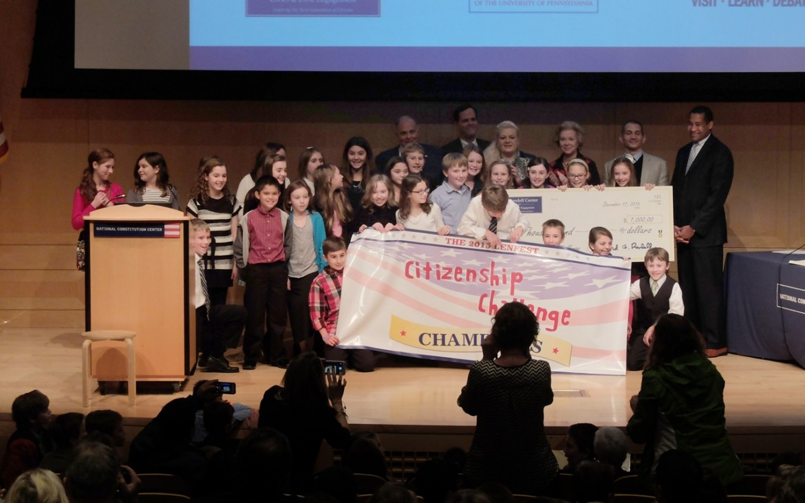 The winning essay team from Haverford Township School District's Chestnutwold Elementary.