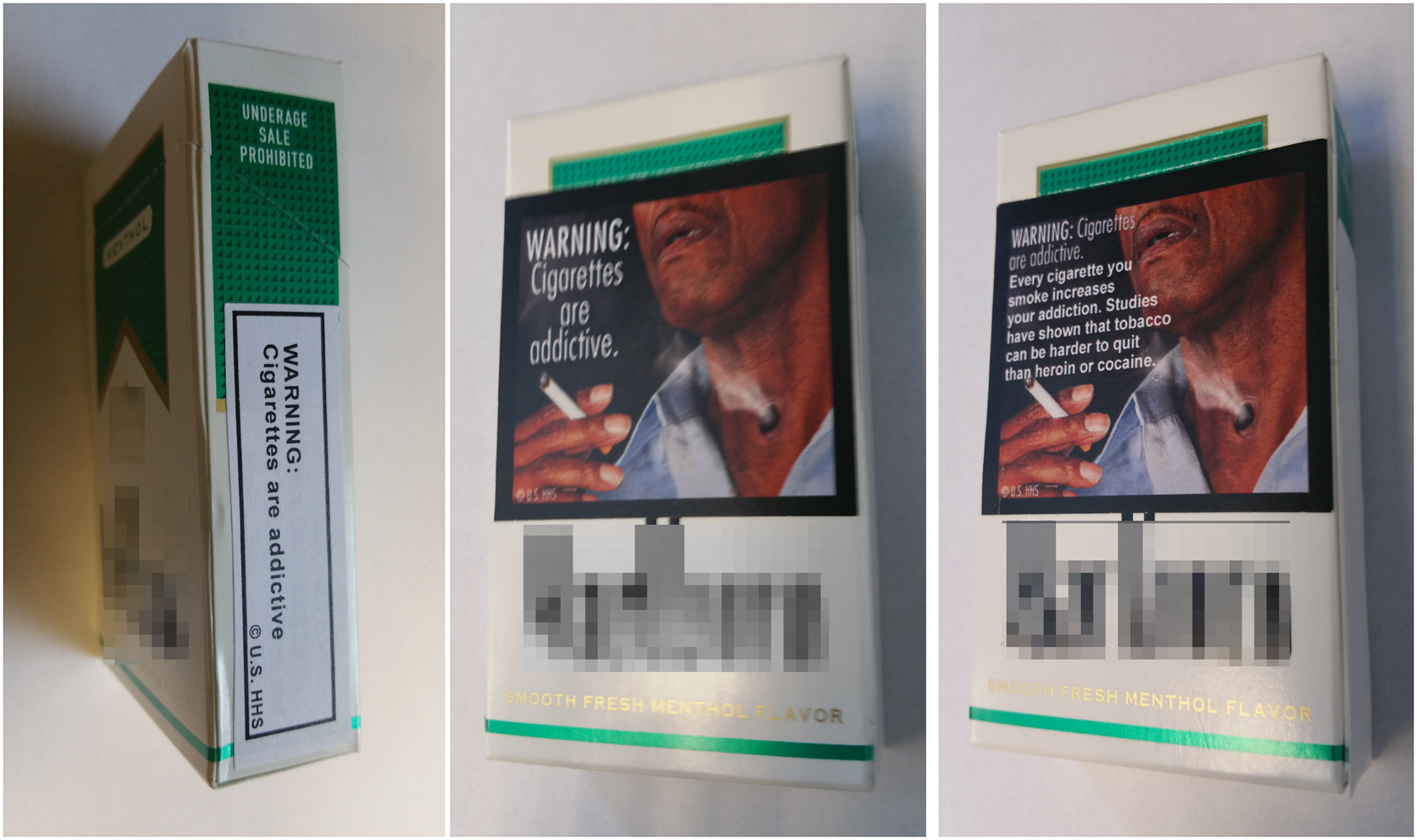 Basic text warnings (left) were placed on the side of cigarettes packages. Graphic warning labels (center) covered approximately 50% of the front of cigarette packages and paired images with basic text statements. Elaborated text warning labels (right) also featured graphic images, but included descriptive text which explained the warning in more detail. Credit: PLOS One.