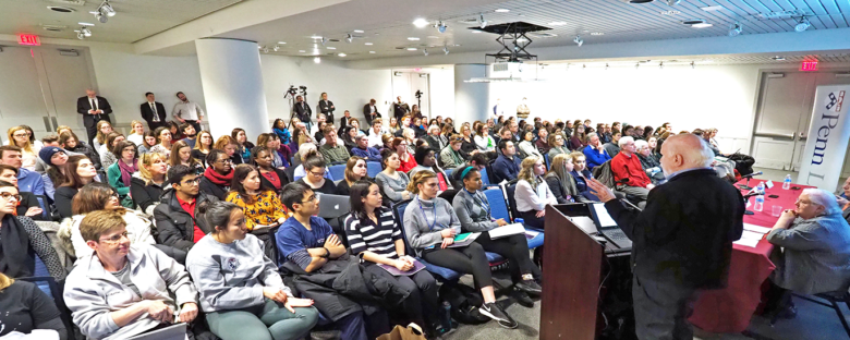 Dan Romer at Penn's March 2018 Teach-In. Credit: LDI/Hoag Levins.