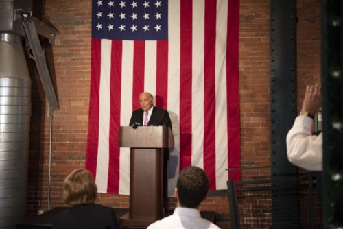 Former Gov. Ed Rendell announces the Pittsburgh Citizenship Challenge at the Heinz History Center, June 22, 2018.