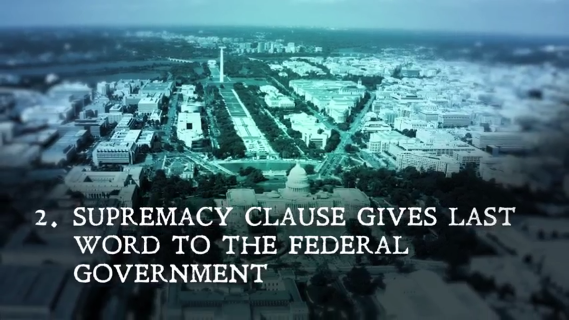 "Screenshot from ""The Supremacy Clause."""