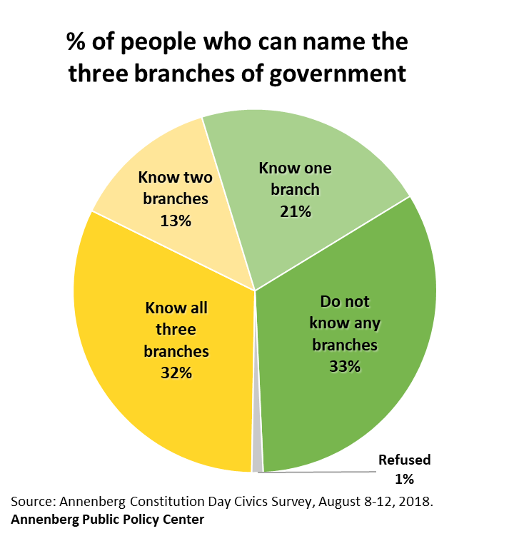 Chart showing percent of people who can name the 3 branches of government. 2018 Annenberg civics knowledge survey.