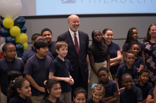 Pennsylvania Gov. Tom Wolf poses with students.