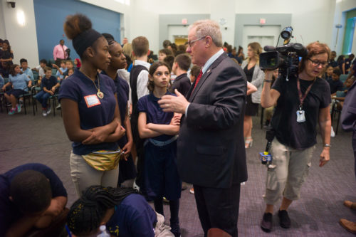 Republican challenger Scott Wagner talks with E.M. Stanton students.