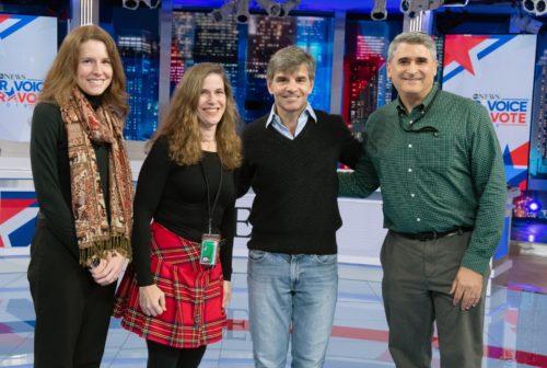 Talia Jomini Stroud, Kristen Conrad, George Stephanopolous, and Ken Winneg at ABC on election night.