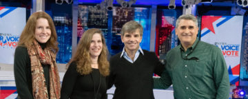 Talia Jomini Stroud, Kristen Conrad, George Stephanopolous, and Ken Winneg at ABC on election night.