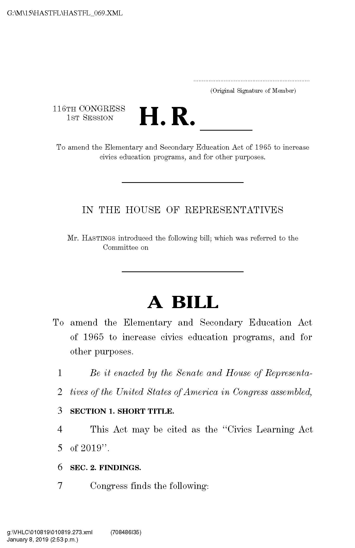 Screenshot of the Civics Learning Act of 2019, which featured data from the Annenberg Civics Survey.