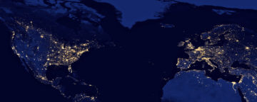Nighttime view across the Atlantic. Credit: NASA Earth Observatory image by Robert Simmon.