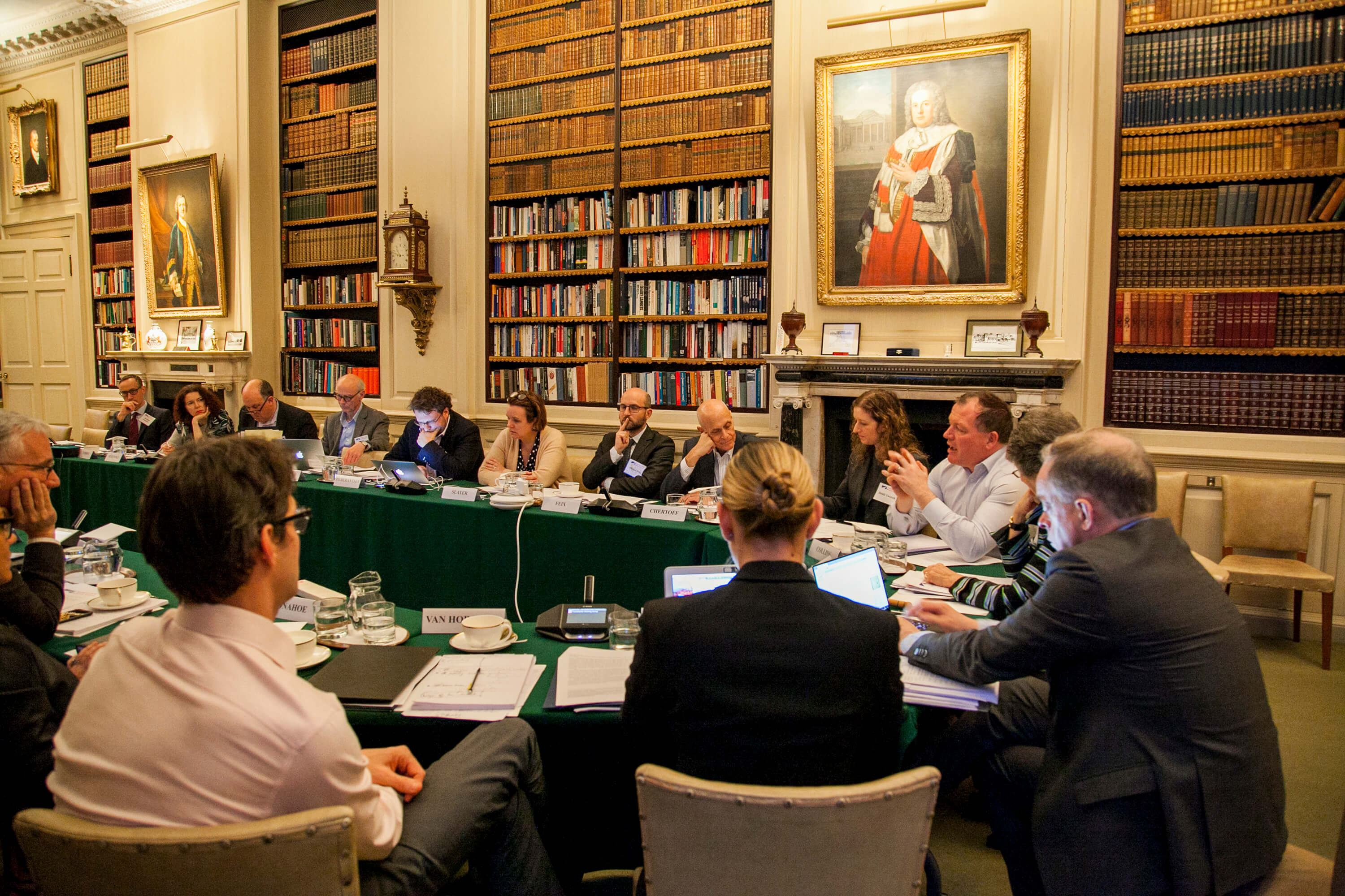 Damian Collins speaks in a group meeting in the library. Credit: Silver Apples Photography. Transatlantic Working Group.
