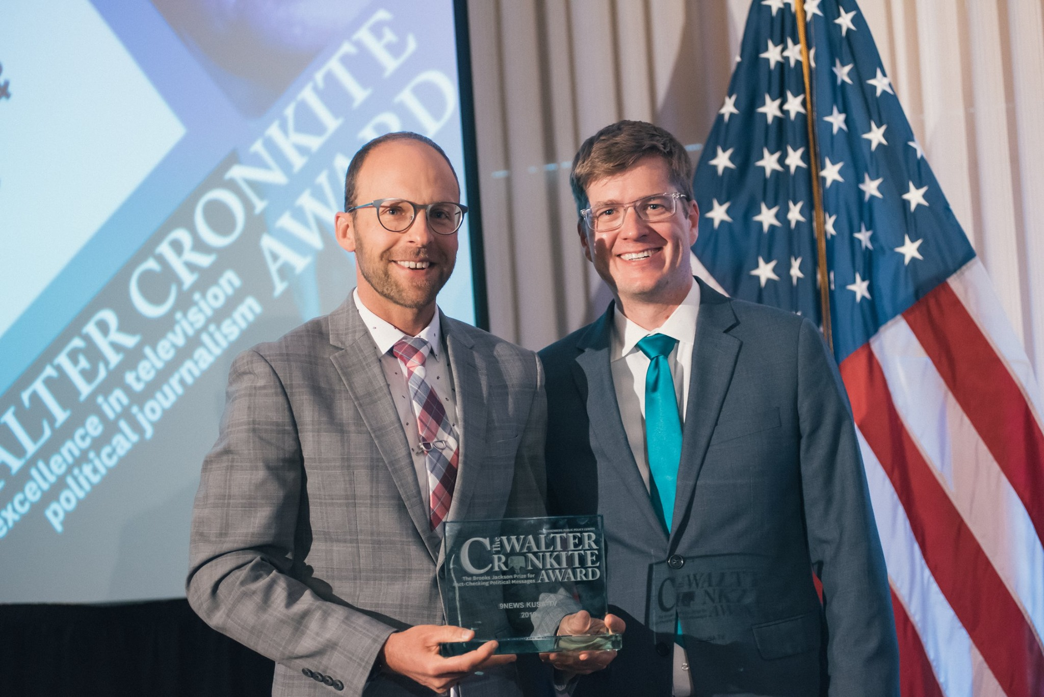 Marshall Zelinger (left) and Brandon Rittiman accepted the Jackson Prize for KUSA 9News. Photos courtesy of the National Press Club.