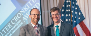 Marshall Zelinger (left) and Brandon Rittiman received the Jackson Prize for 9News KUSA. Credit: National Press Club.