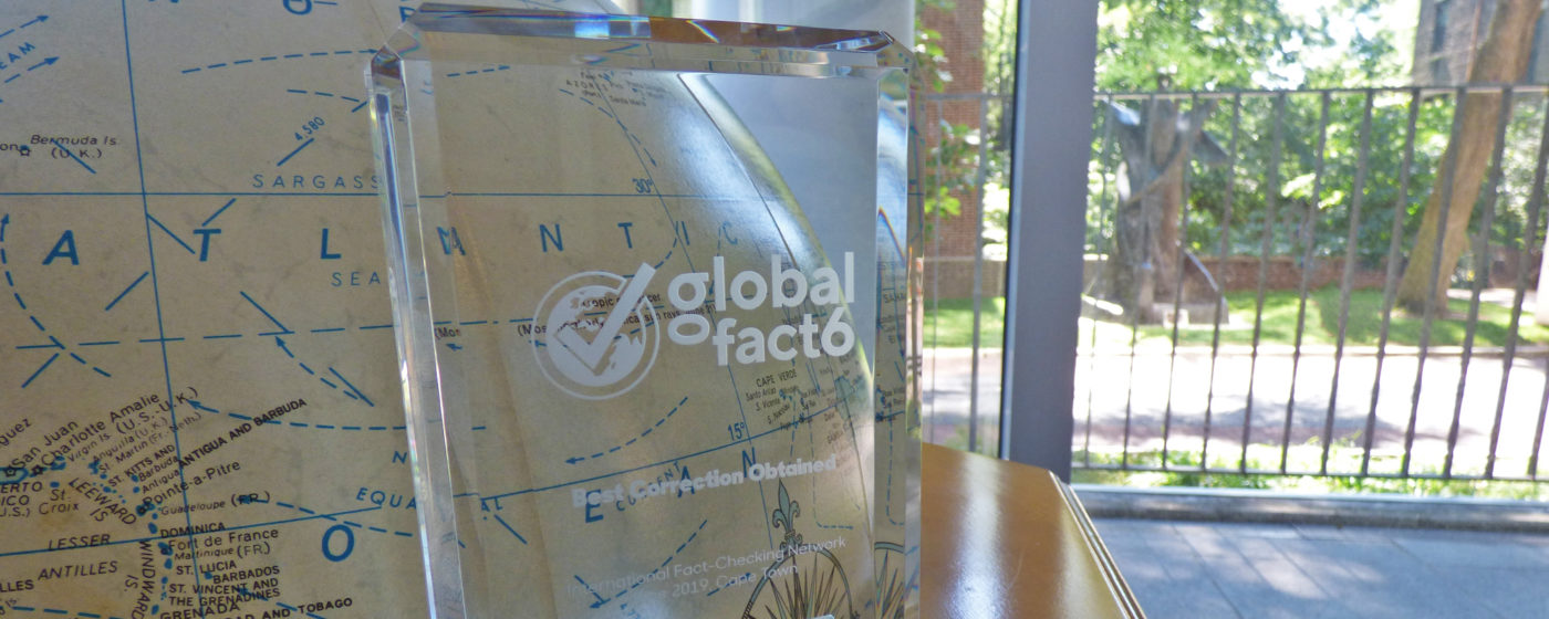 An article by FactCheck.org won an award at the Global Fact 6 conference.