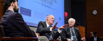 Supreme Court Justice Anthony Kennedy, sitting with Third Circuit Appeals Court Judge Stephanos Bibas and former Duke Law School Dean David Levi, at the Fair and Impartial Judiciary Symposium, Oct. 26, 2019.