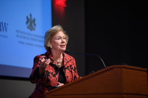 Judge Marjorie O. Rendell at Fair & Impartial Judiciary Symposium, Oct. 26, 2019.