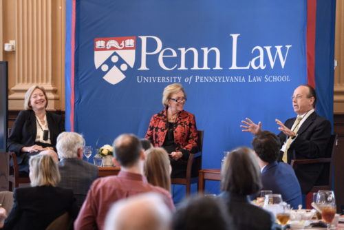 Judge Marjorie Rendell moderates a lunchtime session with lawyer Kathleen Sullivan and former Solicitor General Paul Clement.