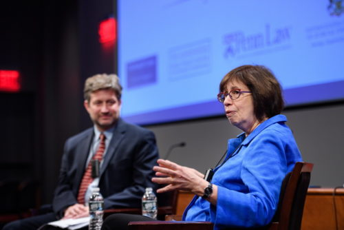 Journalist Linda Greenhouse and Penn Law Dean Theodore Ruger.
