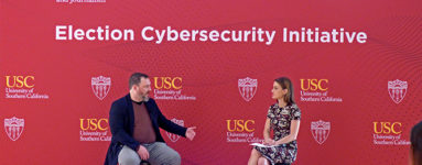 CNN Security Analyst Sam Vinograd talks with Dan Woods, chief technology officer of the Joe Biden campaign for president at USC's Cybersecurity Initiative.