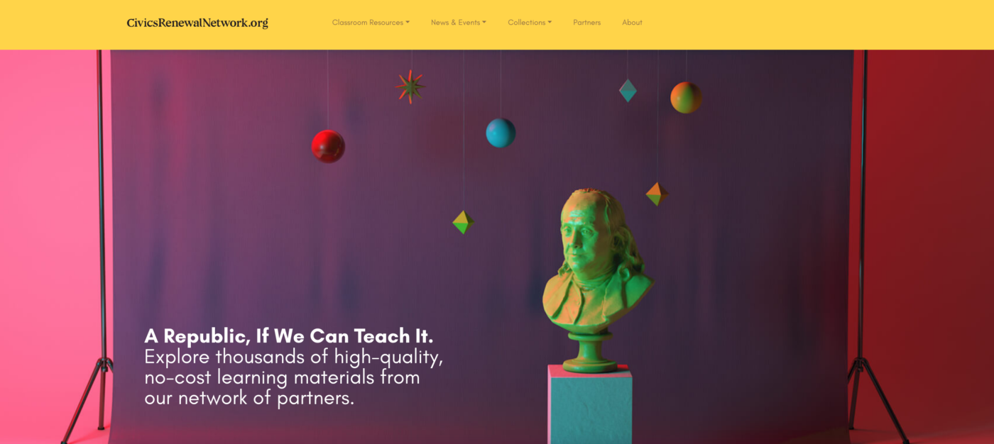 Opening screen of the redesigned Civics Renewal Network site, which won a Hermes Creative Award