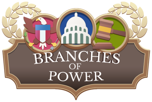 Logo of Branches of Power, one of the nonpartisan civics games from iCivics and APPC