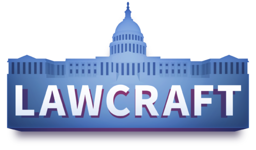 Logo of LawCraft, one of the nonpartisan civics games from iCivics and APPC