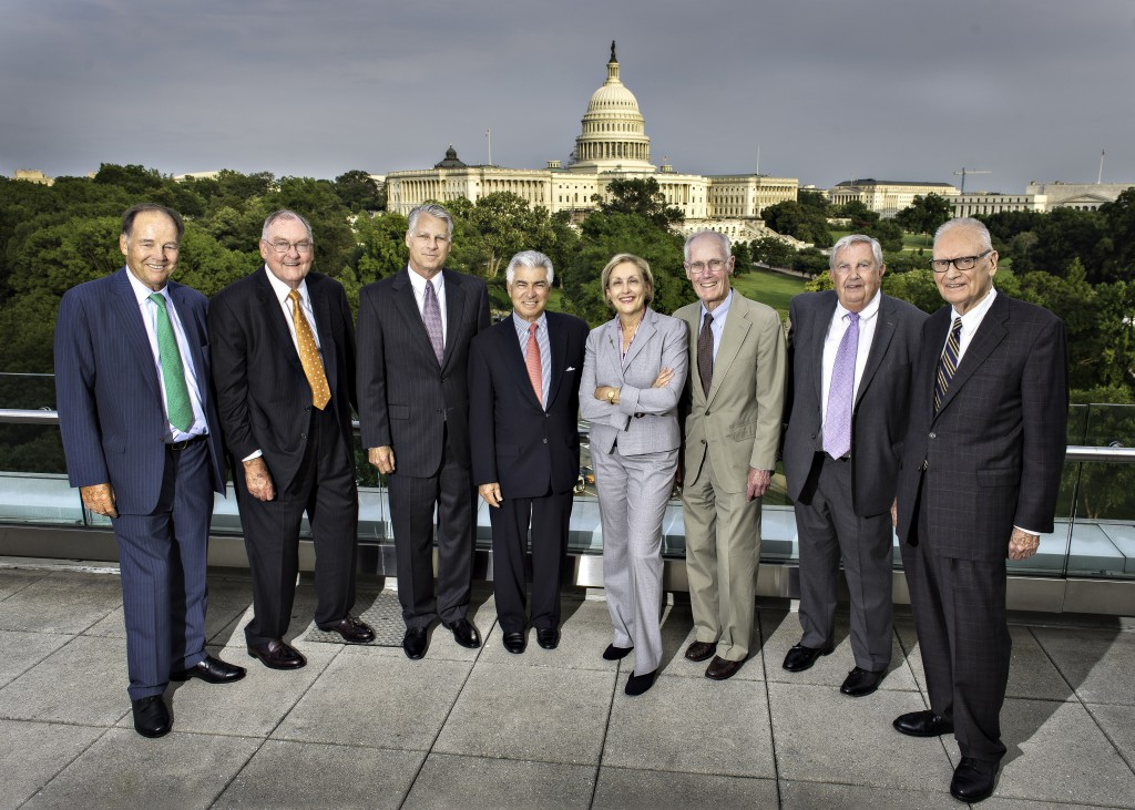 9/11 Commission members who gathered in Washington, D.C., for the 10th anniversary of their report. From left: Thomas Kean (chairman); James Thompson; Timothy Roemer; Richard Ben-Veniste; Jamie Gorelick; Slade Gorton; Fred F. Fielding; and Lee Hamilton (vice-chairman). Missing are Bob Kerrey and John Lehman. Credit: Greg Gibson Photography. Courtesy of Bipartisan Policy Center.