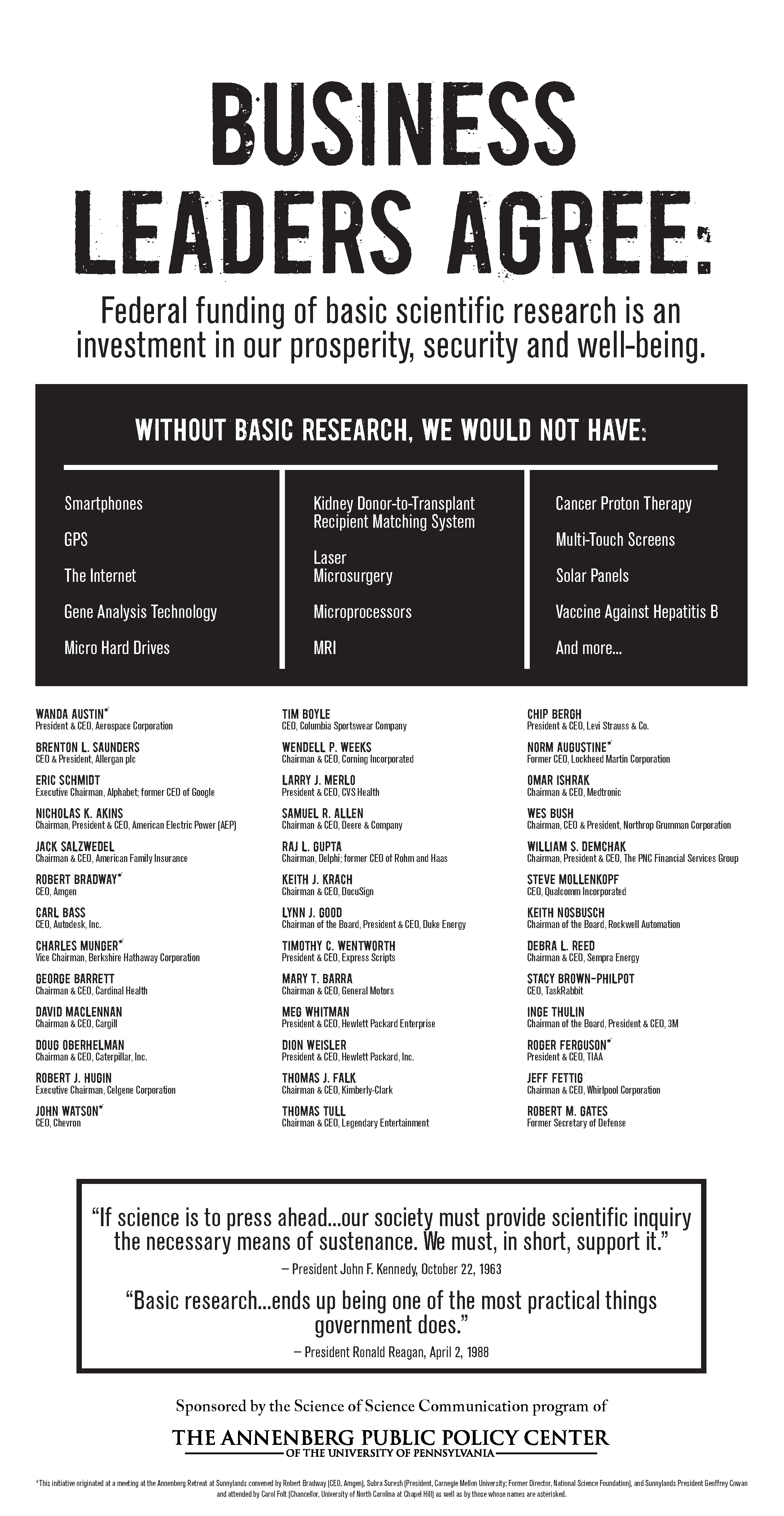 Business leaders for basic scientific research ad.