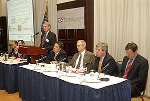 (l-r) Bob Papper, professor and associate chair of journalism, media studies and public relations, Hofstra University; Colin Benedict, news managing editor of WISC-TV in Madison, Wisconsin; Brooks Jackson, director of FactCheck.org; Bill Adair, Washington Bureau Chief for the St. Petersburg Times and the editor of PolitiFact.com; Michael Dobbs, The Fact Checker at the Washington Post; Mark Matthews, political reporter for ABC7 News at KGO-TV, San Francisco; Jake Tapper, senior national correspondent and senior political correspondent for ABC News.