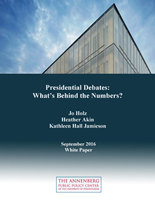 """Cover of """"Presidential Debates: What's Behind the Numbers?"""" white paper."""