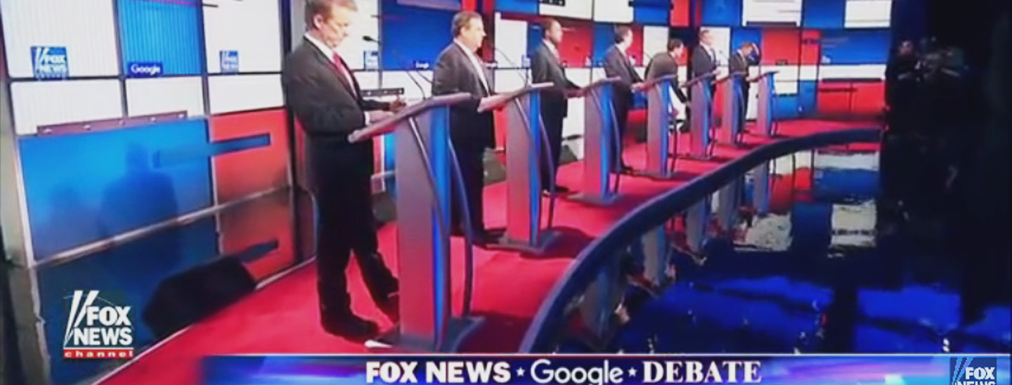 Candidates at the FOX News and Google GOP Debate on January 28, 2016.