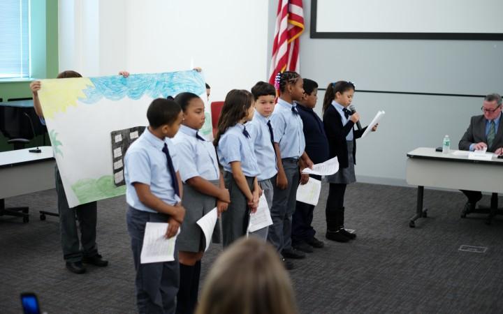 Students from Elizabeth Pond's fifth-grade class at Julia de Burgos School.