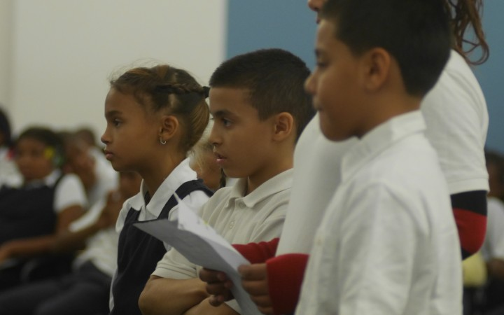 Students from Michael Trautner's fourth-grade class at Isaac Shepard School.
