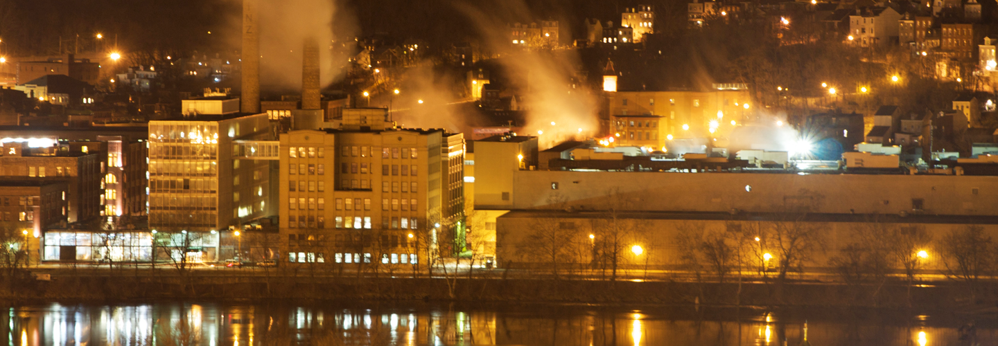 Pittsburgh factory at night. Credit: Raja Sambasivan.