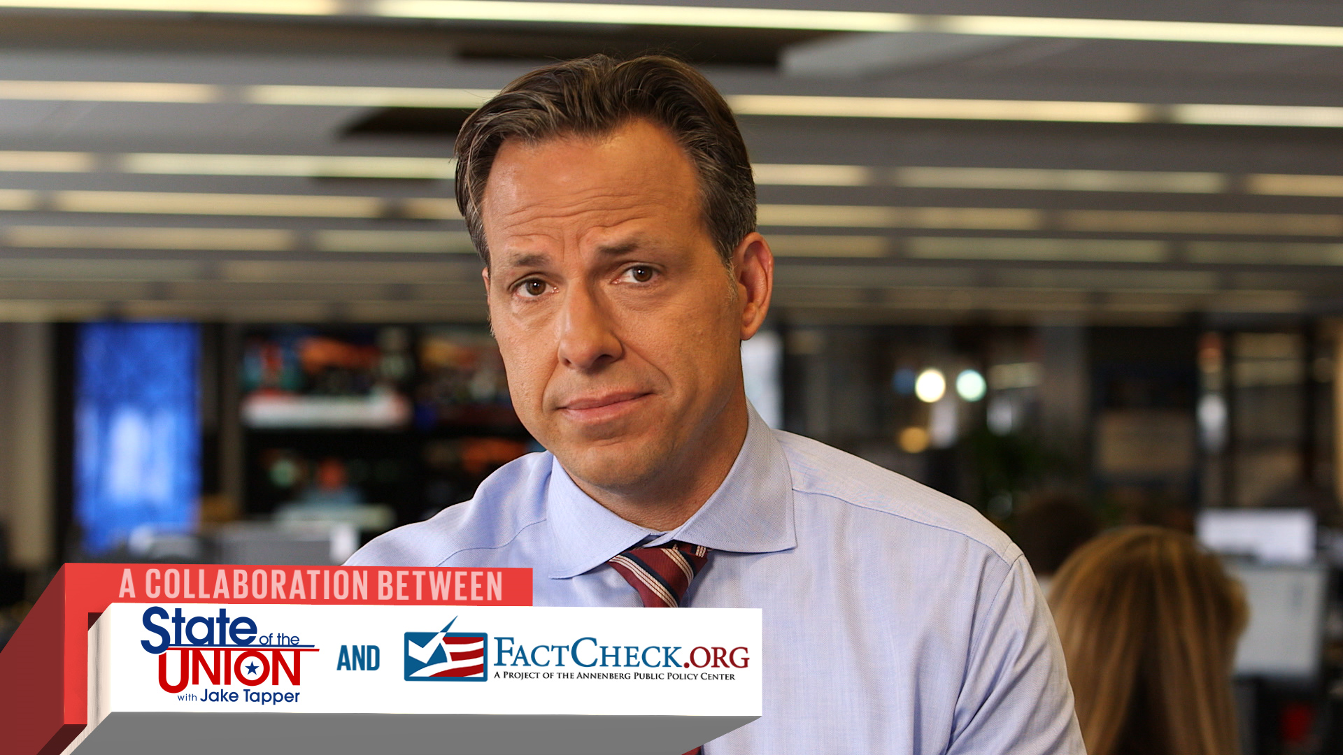 "CNN ""State of the Union"" anchor Jake Tapper in the first segment of a new collaboration with FactCheck.org. Sept. 4, 2015."