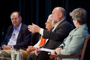 At the panel on homeland security at the 2014 Aspen Ideas Festival (from left): 9/11 Commission chairman Tom Kean; Woodrow Wilson Center president Jane Harman; Thad Allen, former U.S. Coast Guard commandant; and APPC director Kathleen Hall Jamieson. Credit: Brett Wilhelm, with permission from Booz Allen Hamilton.