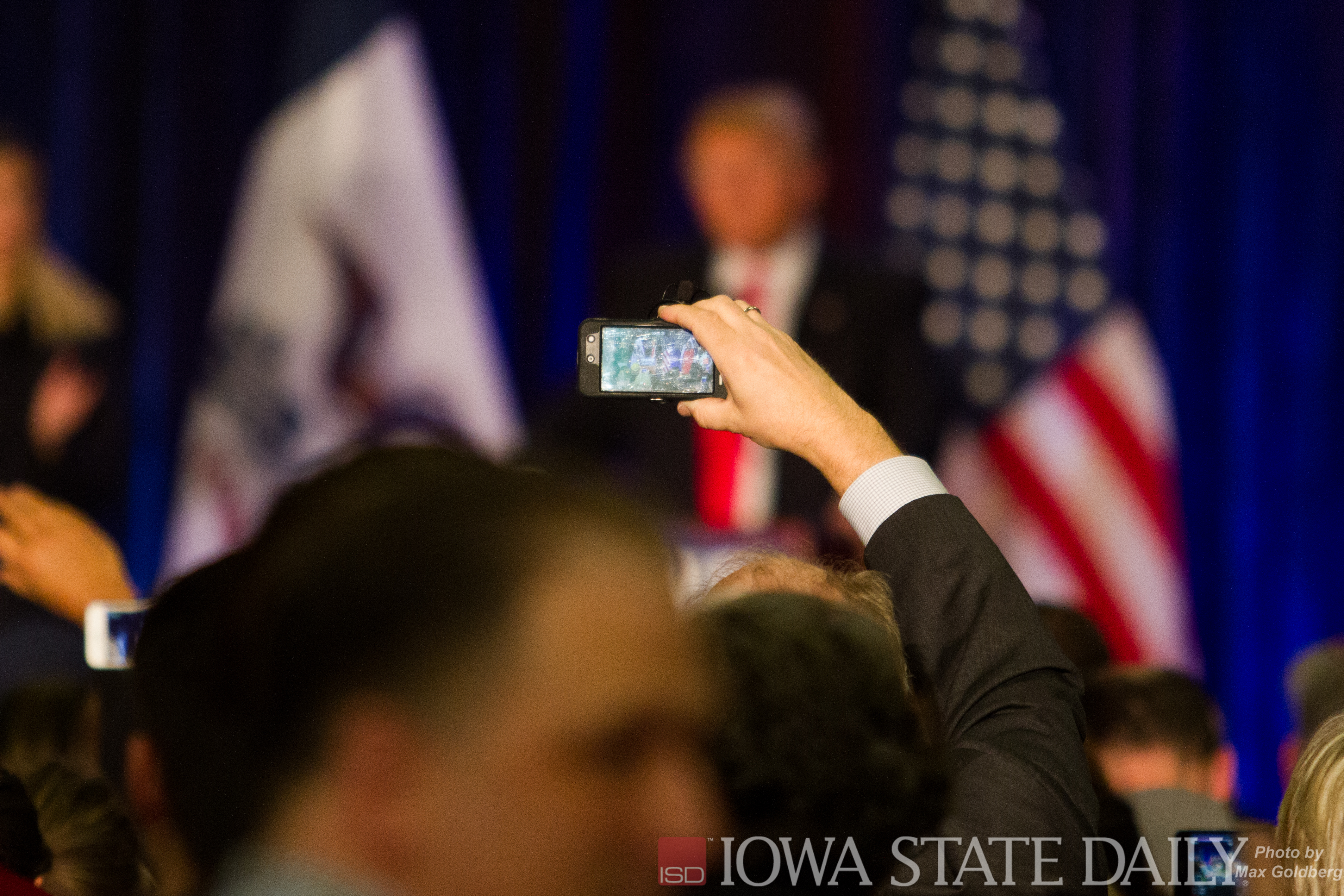 Trump being recorded as he speaks to a crowd. Credit: Max Goldberg/Iowa State Daily.