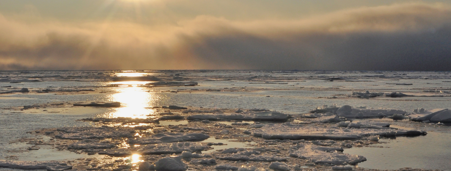 Sun reflected in the icy Arctic Ocean.
