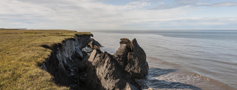 Eroding coastline in Alaska.