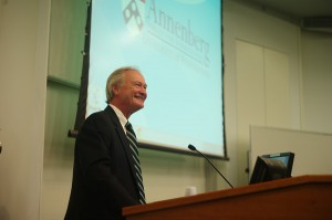 R.I. Gov. Lincoln Chafee talks with a class at the Annenberg School for Communication.