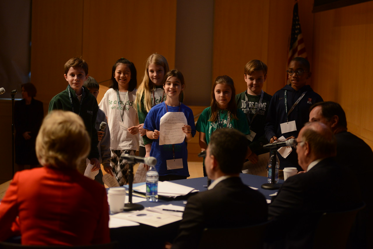 Students from McKinley Elementary discuss their presentation with the judges.