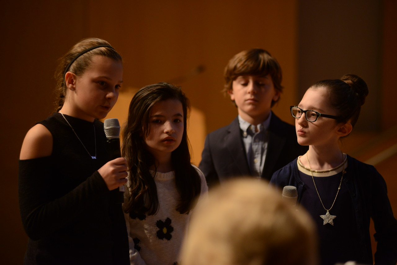 Students from Glenwood Elementary talk to the panel of judges.
