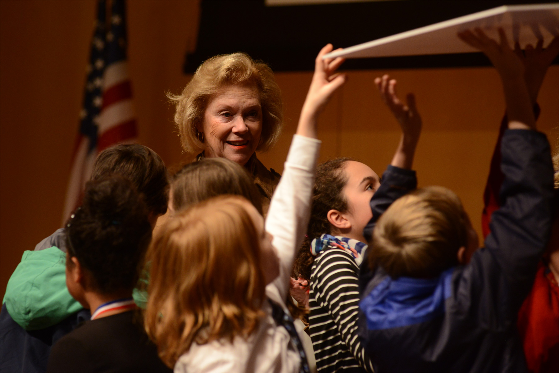 Judge Marjorie O. Rendell oversees the Citizenship Challenge at the National Constitution Center in December 2014.
